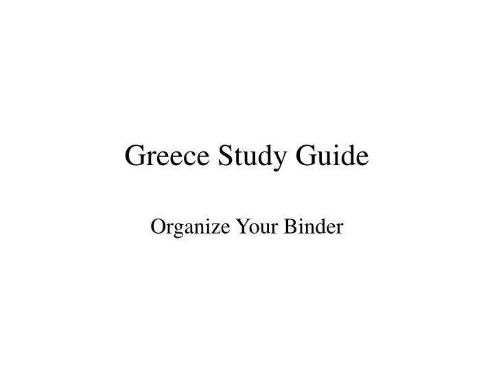Greece study guide