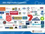 600 high profile customers
