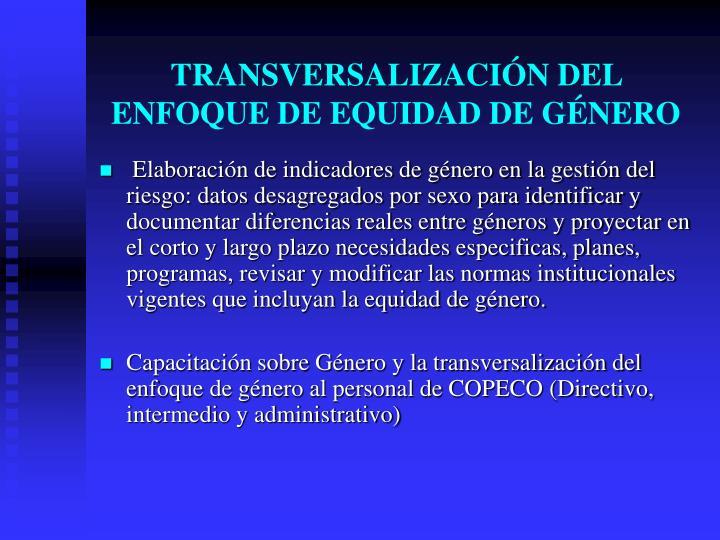 TRANSVERSALIZACIÓN DEL ENFOQUE DE EQUIDAD DE GÉNERO