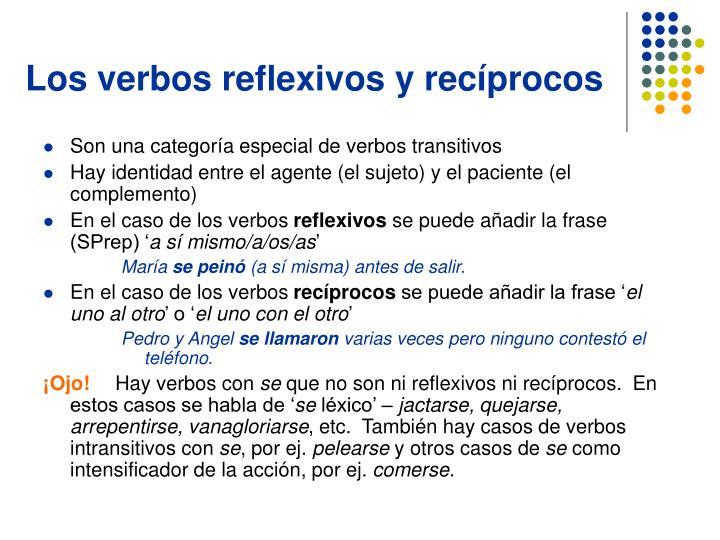 Los verbos reflexivos y recíprocos