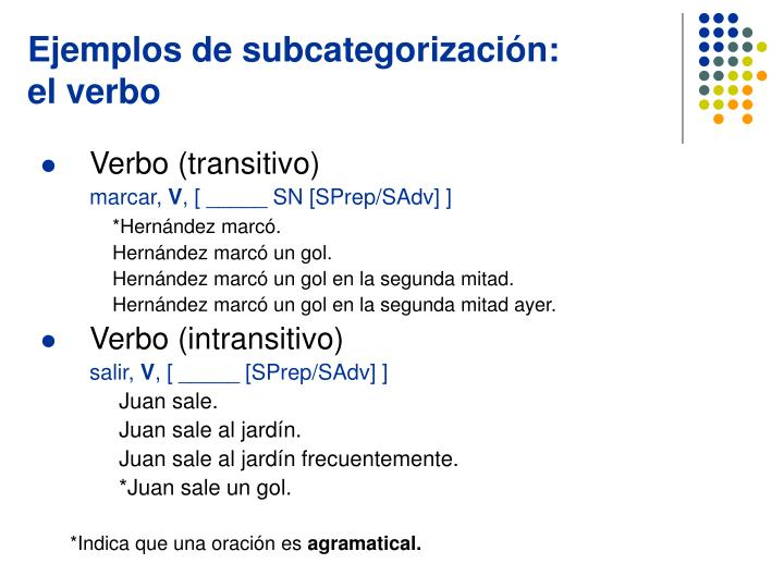 Ejemplos de subcategorización:
