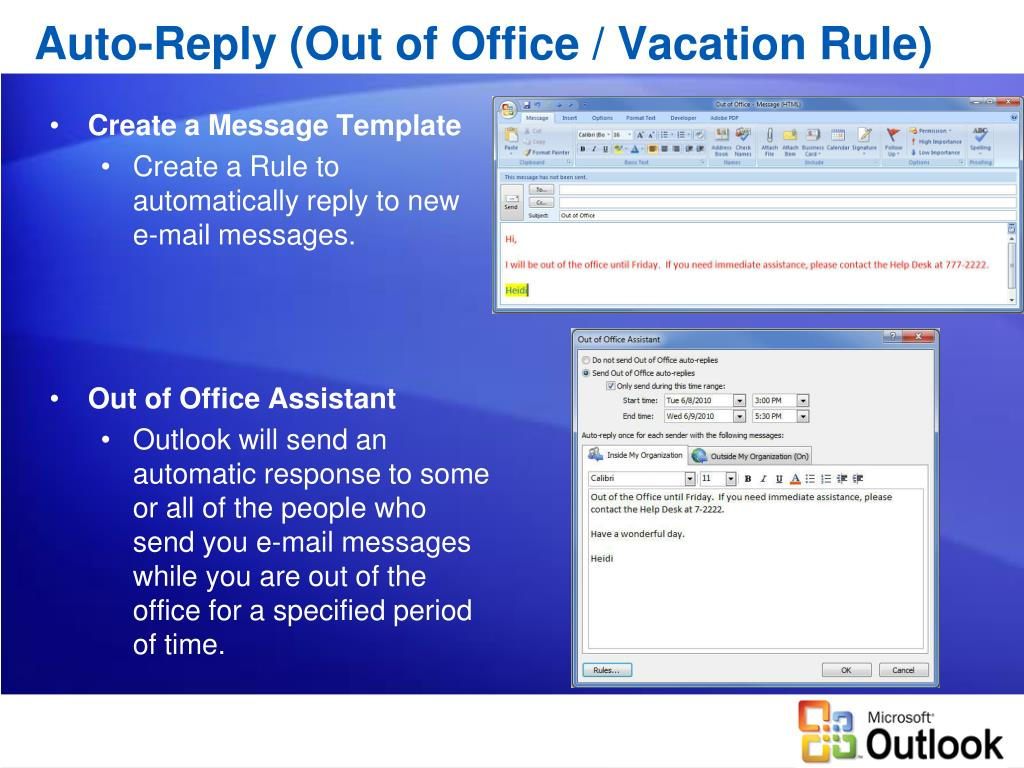Auto-Reply (Out of Office / Vacation Rule)