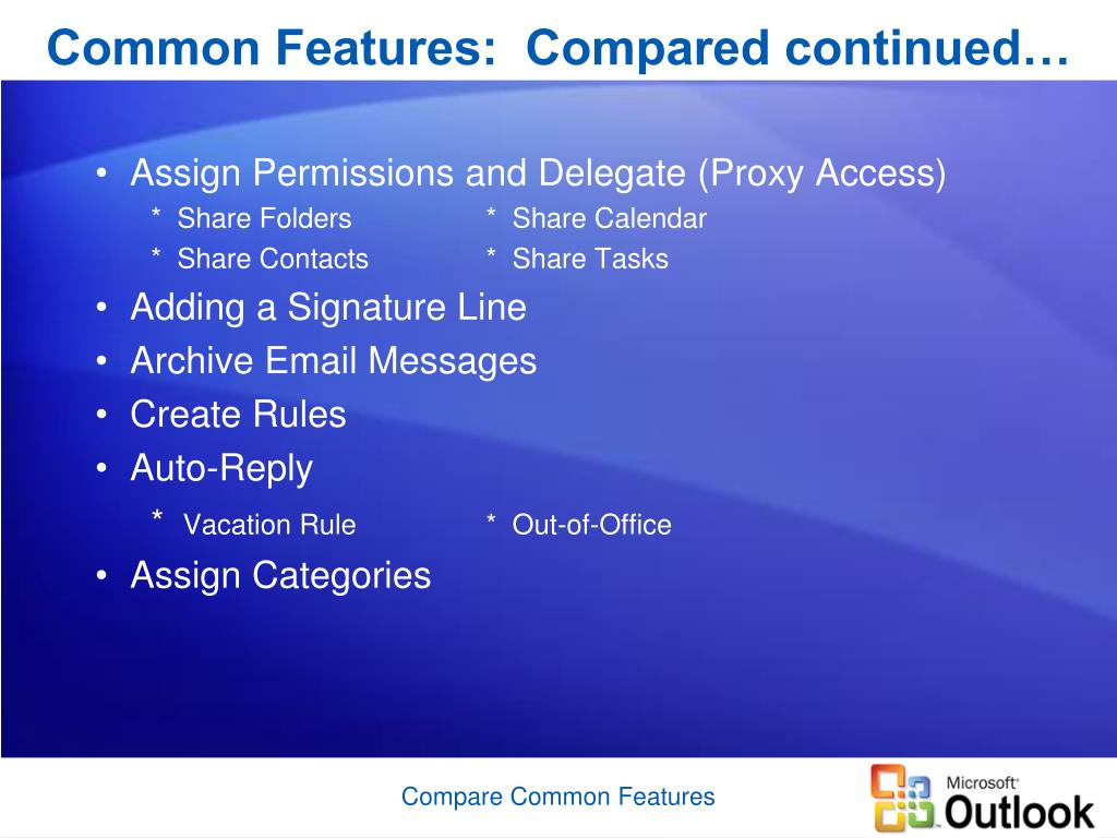 Common Features:  Compared continued…