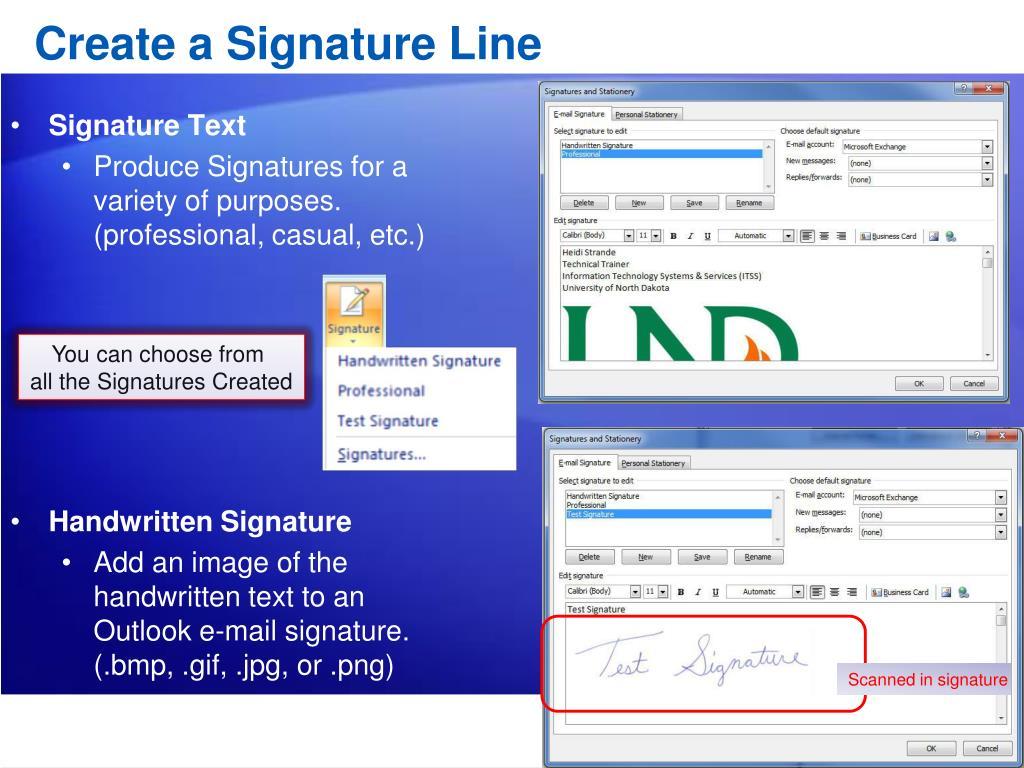 Create a Signature Line