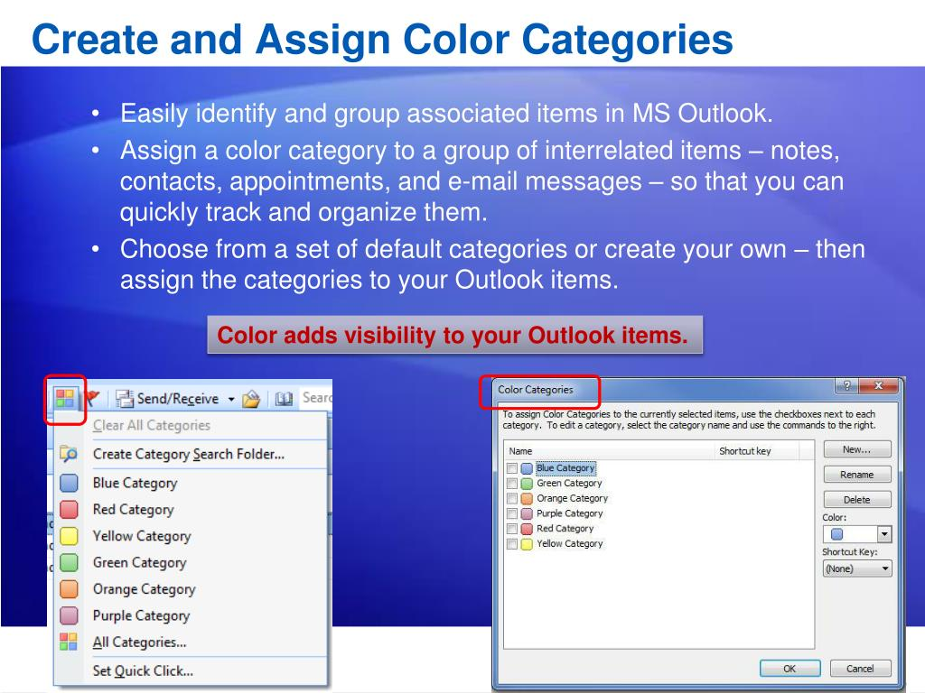 Create and Assign Color Categories