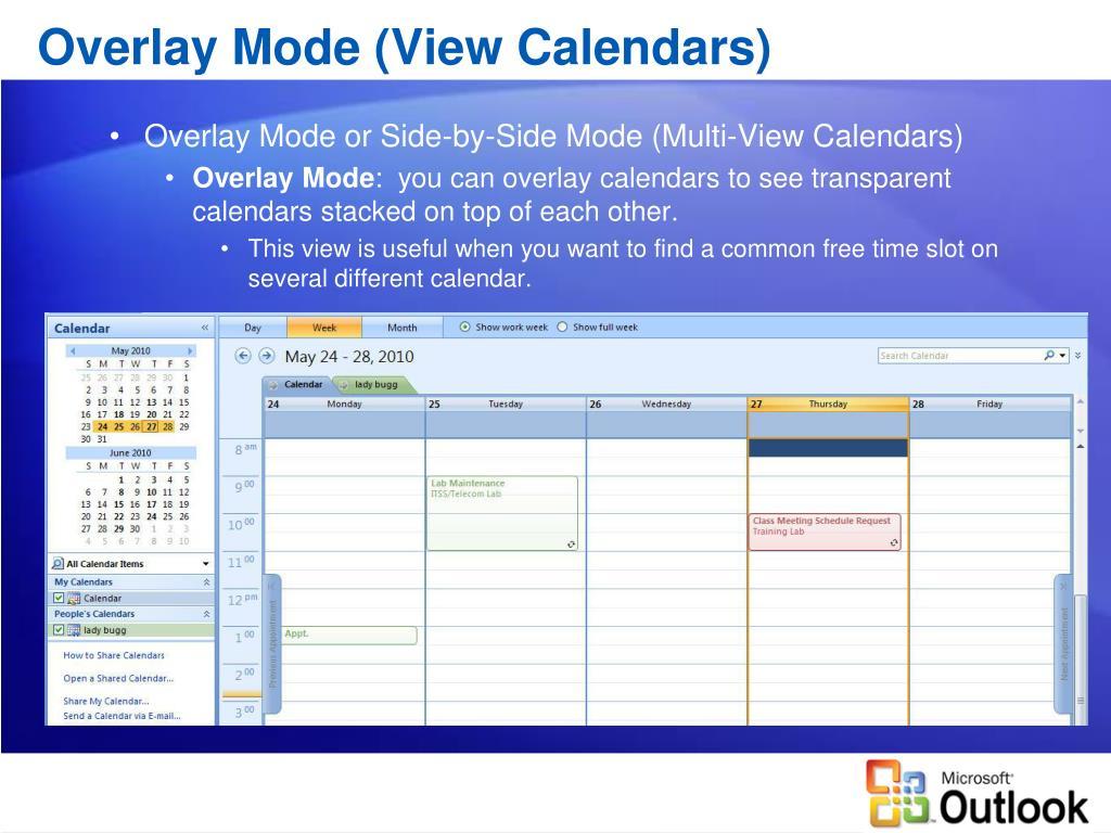 Overlay Mode (View Calendars)
