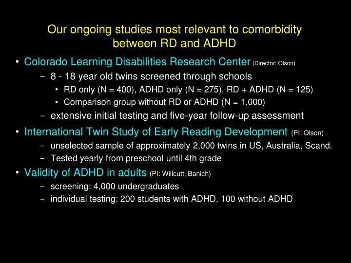 Our ongoing studies most relevant to comorbidity