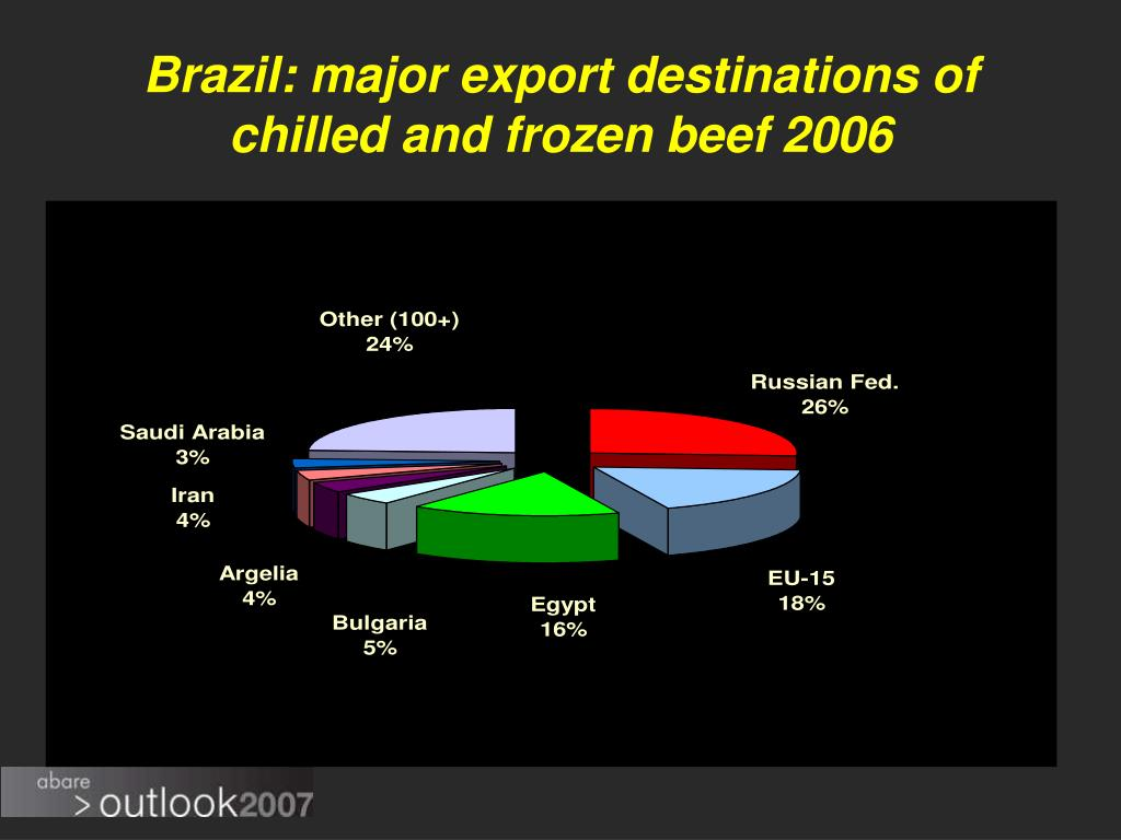 Brazil: major export destinations of chilled and frozen beef 2006