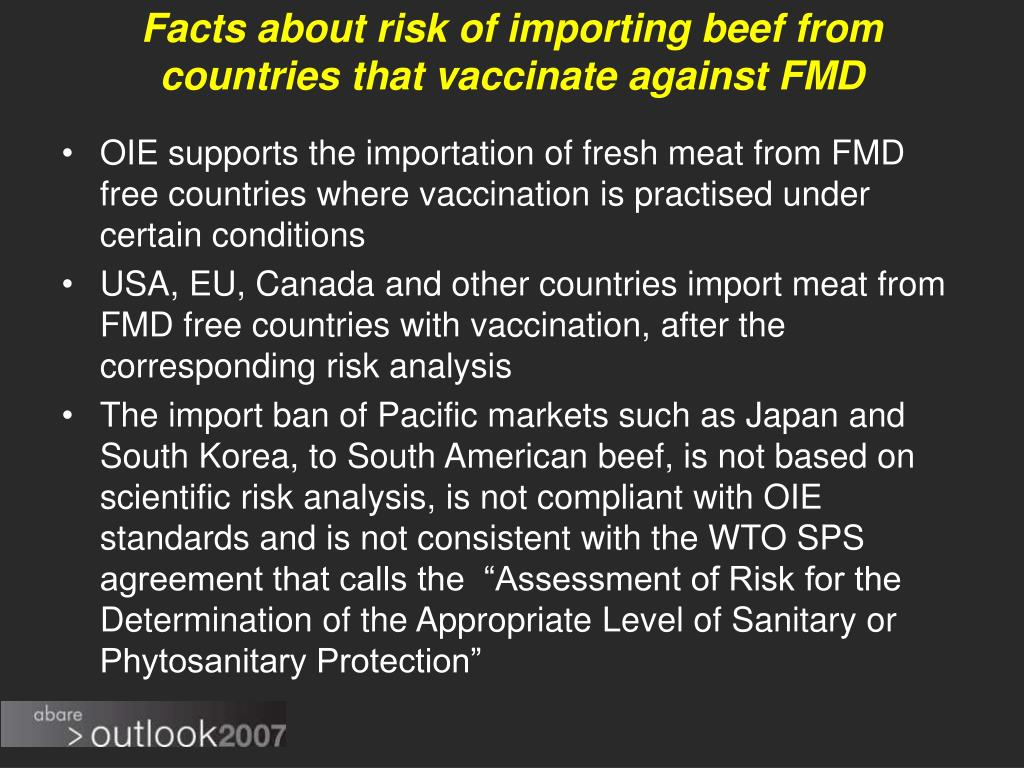 Facts about risk of importing beef from countries that vaccinate against FMD