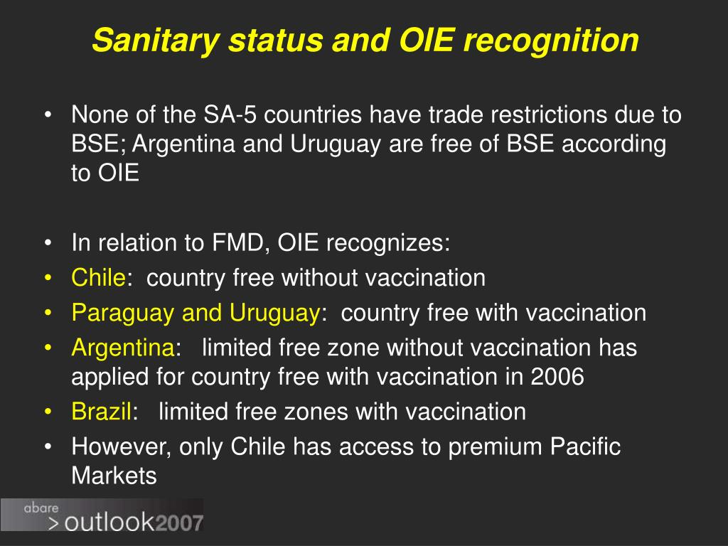 Sanitary status and OIE recognition