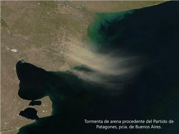 Tormenta de arena procedente del Partido de Patagones, pcia. de Buenos Aires.