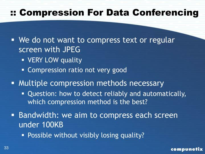 :: Compression For Data Conferencing