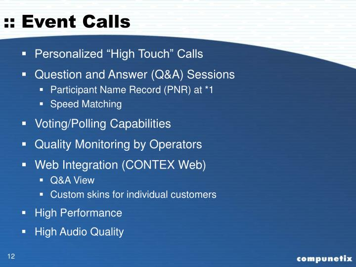 :: Event Calls