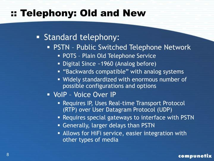 :: Telephony: Old and New