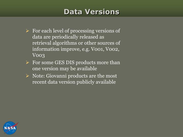Data Versions