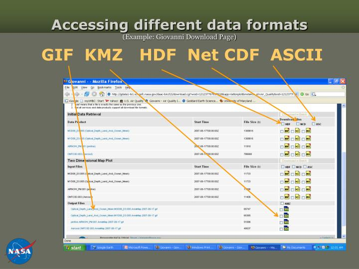 Accessing different data formats