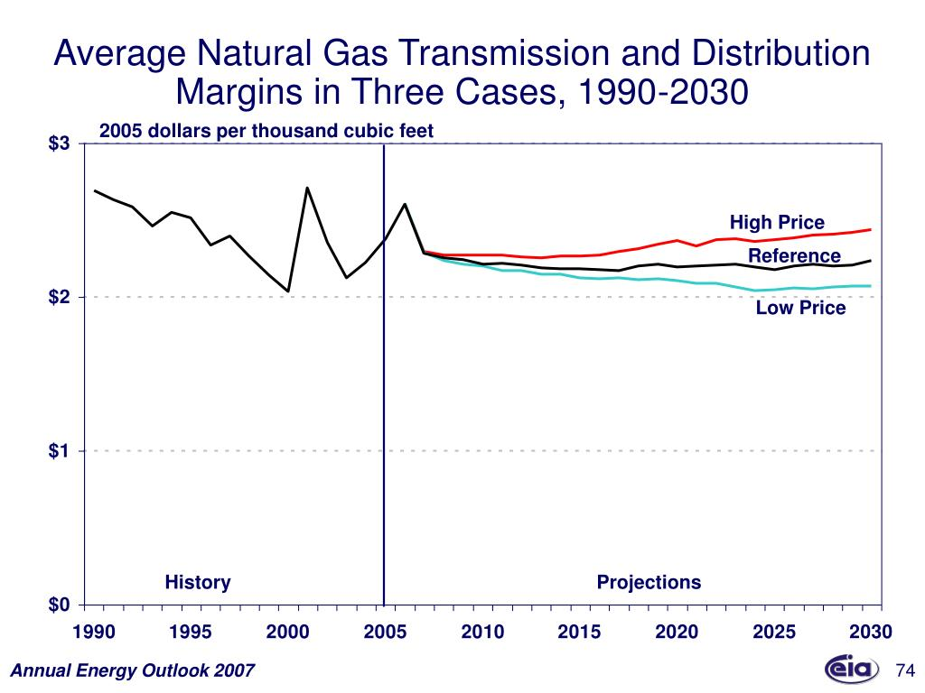 Average Natural Gas Transmission and Distribution Margins in Three Cases, 1990-2030