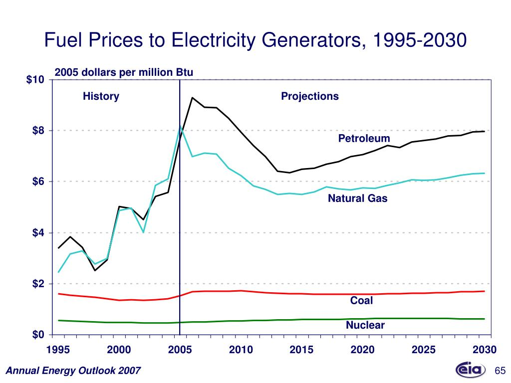 Fuel Prices to Electricity Generators, 1995-2030