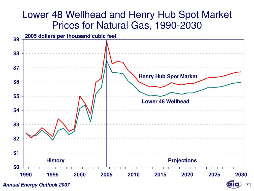 Lower 48 Wellhead and Henry Hub Spot Market Prices for Natural Gas, 1990-2030