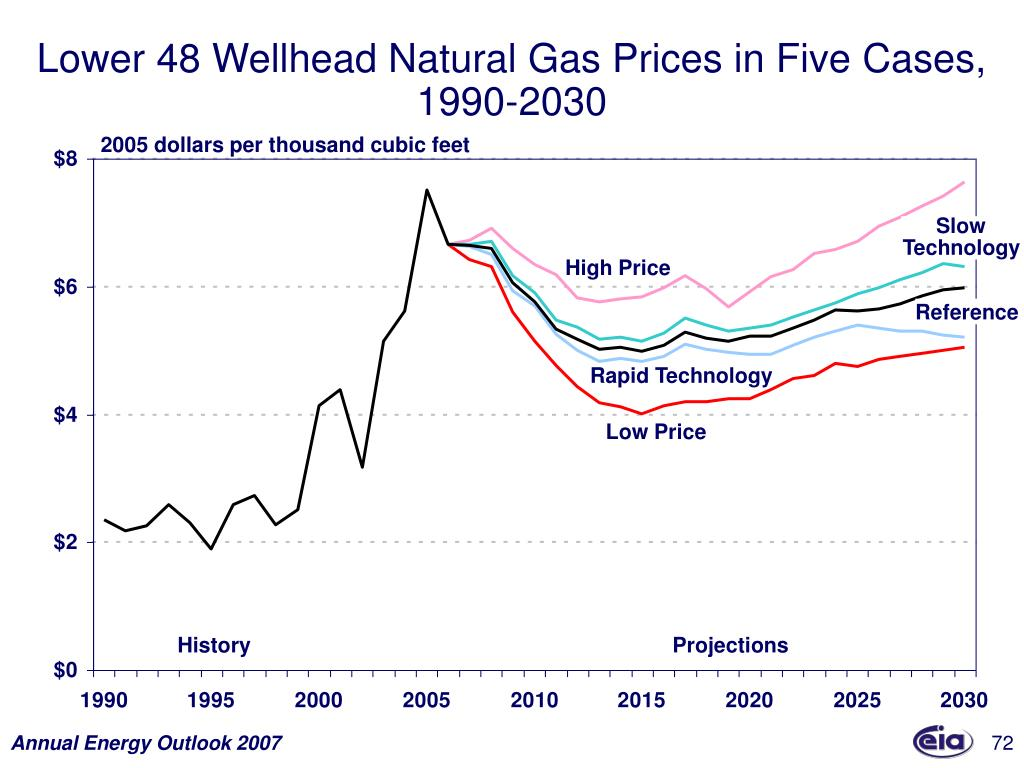 Lower 48 Wellhead Natural Gas Prices in Five Cases,