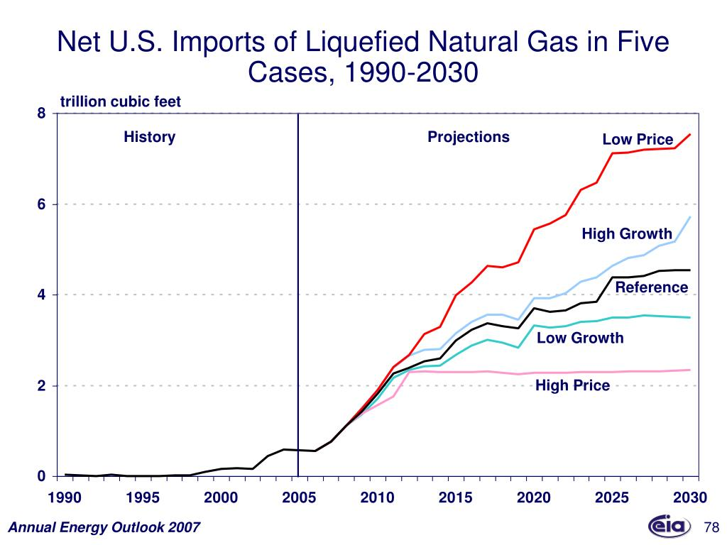 Net U.S. Imports of Liquefied Natural Gas in Five Cases, 1990-2030
