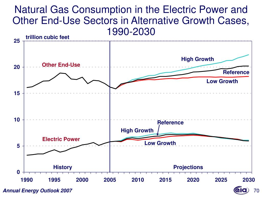 Natural Gas Consumption in the Electric Power and Other End-Use Sectors in Alternative Growth Cases, 1990-2030