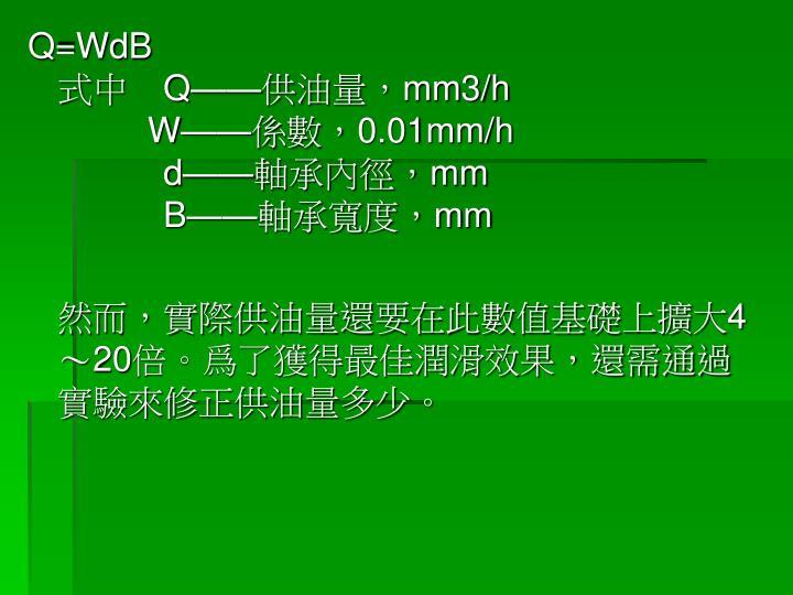 Q=WdB