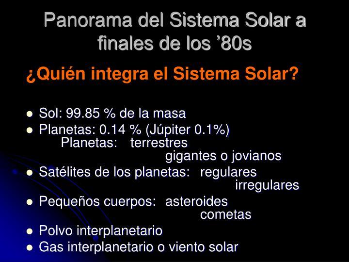 Panorama del Sistema Solar a finales de los '80s
