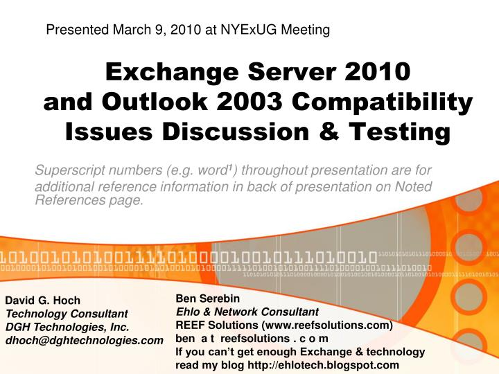 Exchange server 2010 and outlook 2003 compatibility issues discussion testing l.jpg