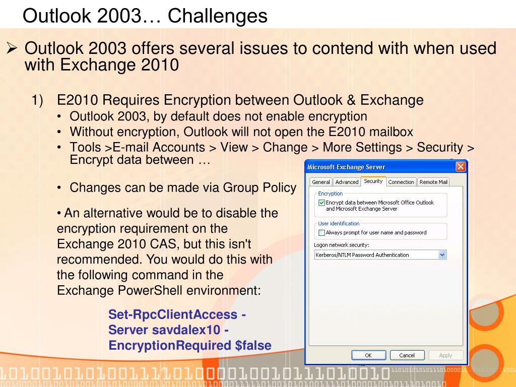Outlook 2003… Challenges