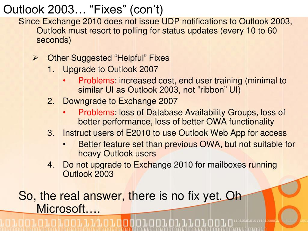 "Outlook 2003… ""Fixes"" (con't)"