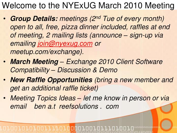 Welcome to the nyexug march 2010 meeting l.jpg