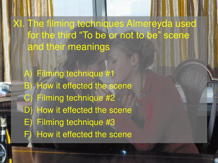 XI. The filming techniques Almereyda used for the third To be or not to be scene and their meanings