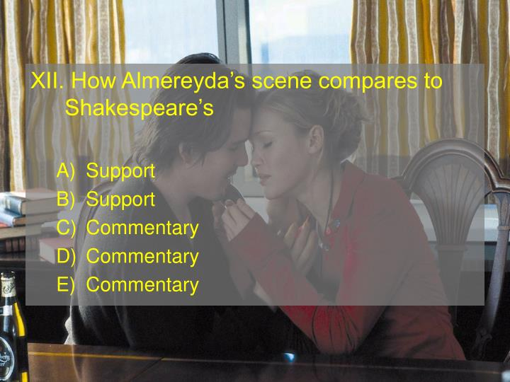 XII. How Almereydas scene compares to Shakespeares