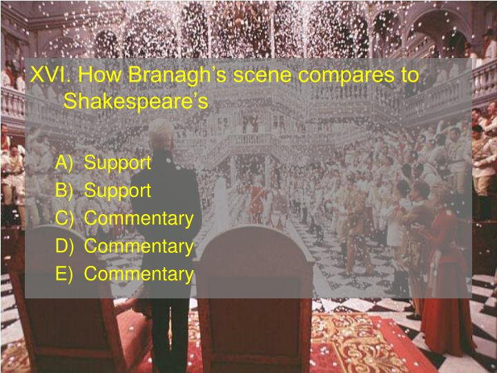 XVI. How Branaghs scene compares to Shakespeares