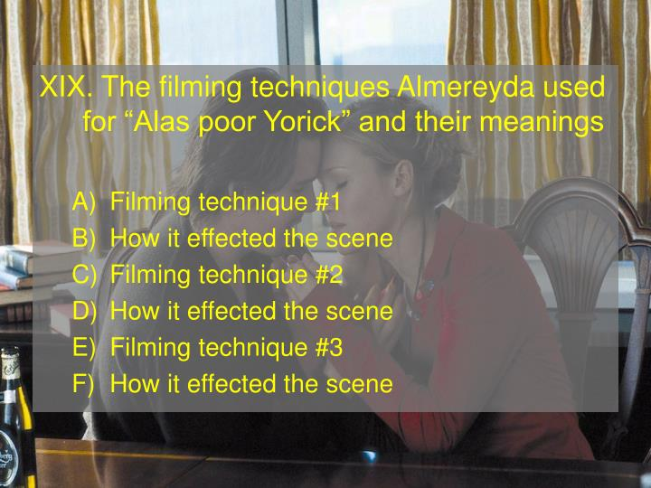 XIX. The filming techniques Almereyda used for Alas poor Yorick and their meanings