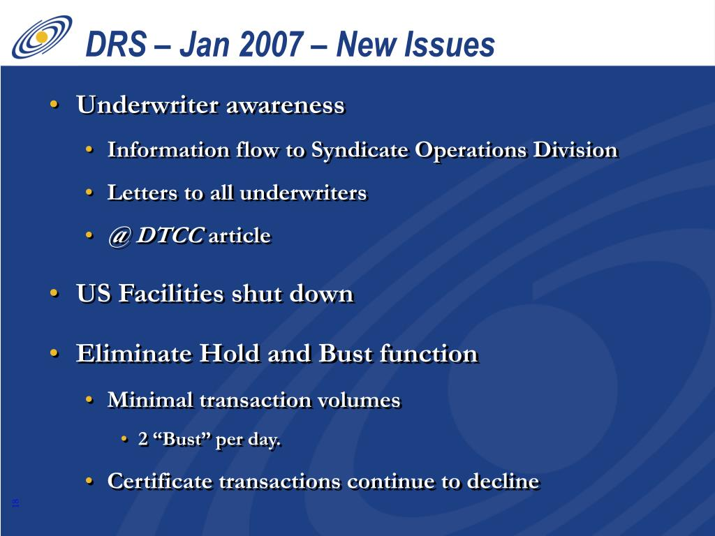 DRS – Jan 2007 – New Issues