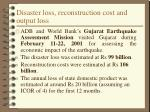 disaster loss reconstruction cost and output loss