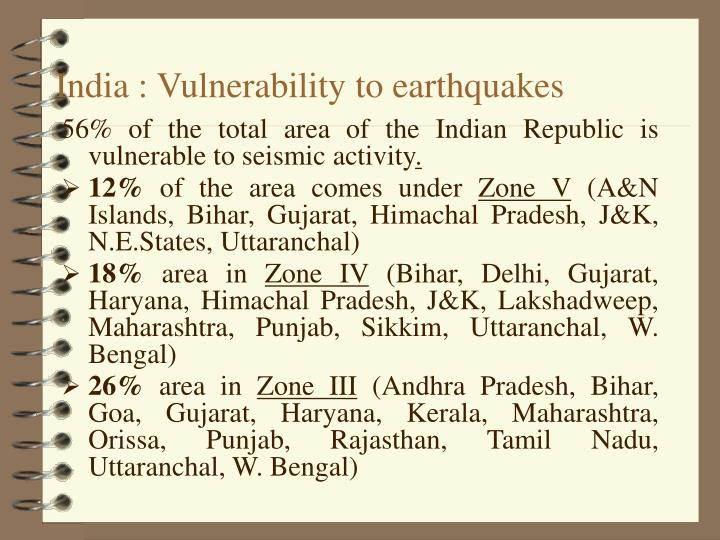 India : Vulnerability to earthquakes