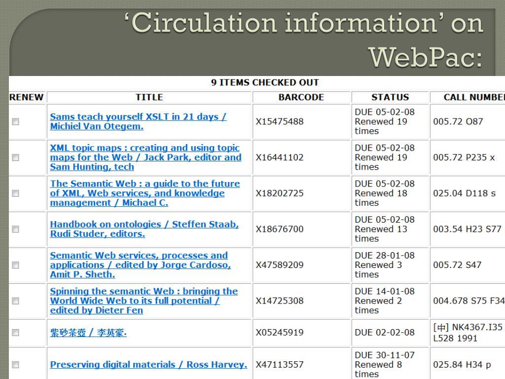 'Circulation information' on
