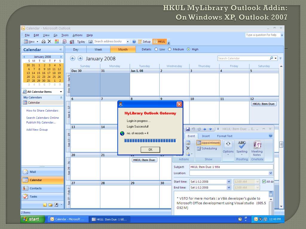 HKUL MyLibrary Outlook Addin: