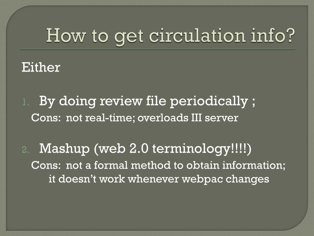 How to get circulation info?