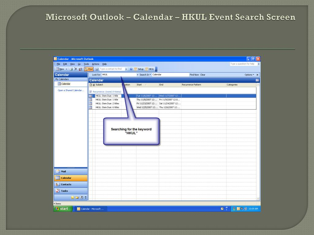 Microsoft Outlook – Calendar – HKUL Event Search Screen