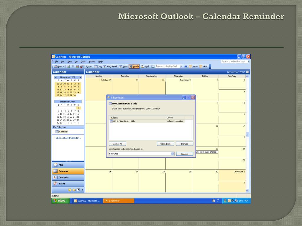 Microsoft Outlook – Calendar Reminder