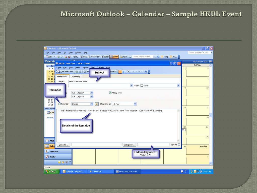 Microsoft Outlook – Calendar – Sample HKUL Event