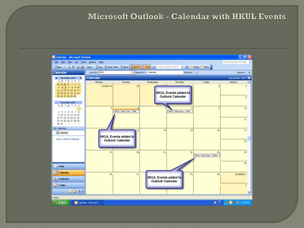 Microsoft Outlook - Calendar with HKUL Events