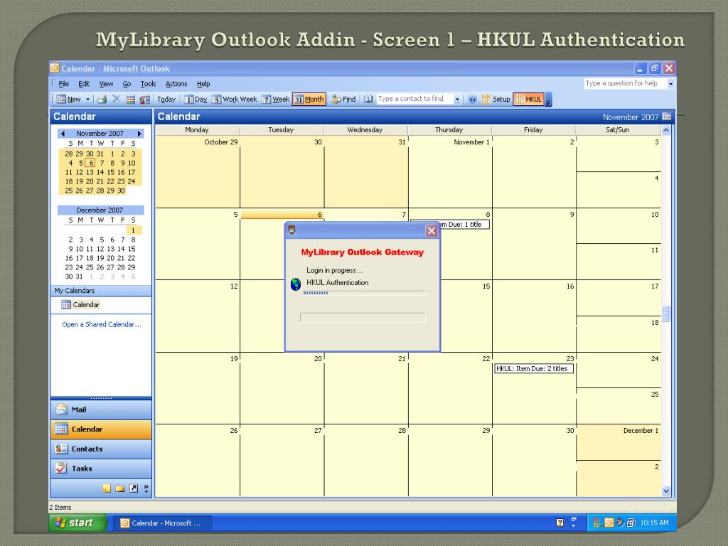 MyLibrary Outlook Addin - Screen 1 – HKUL Authentication