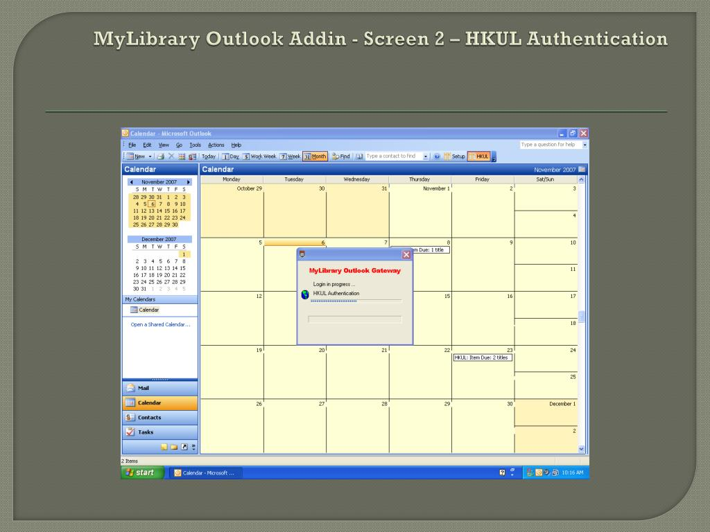 MyLibrary Outlook Addin - Screen 2 – HKUL Authentication