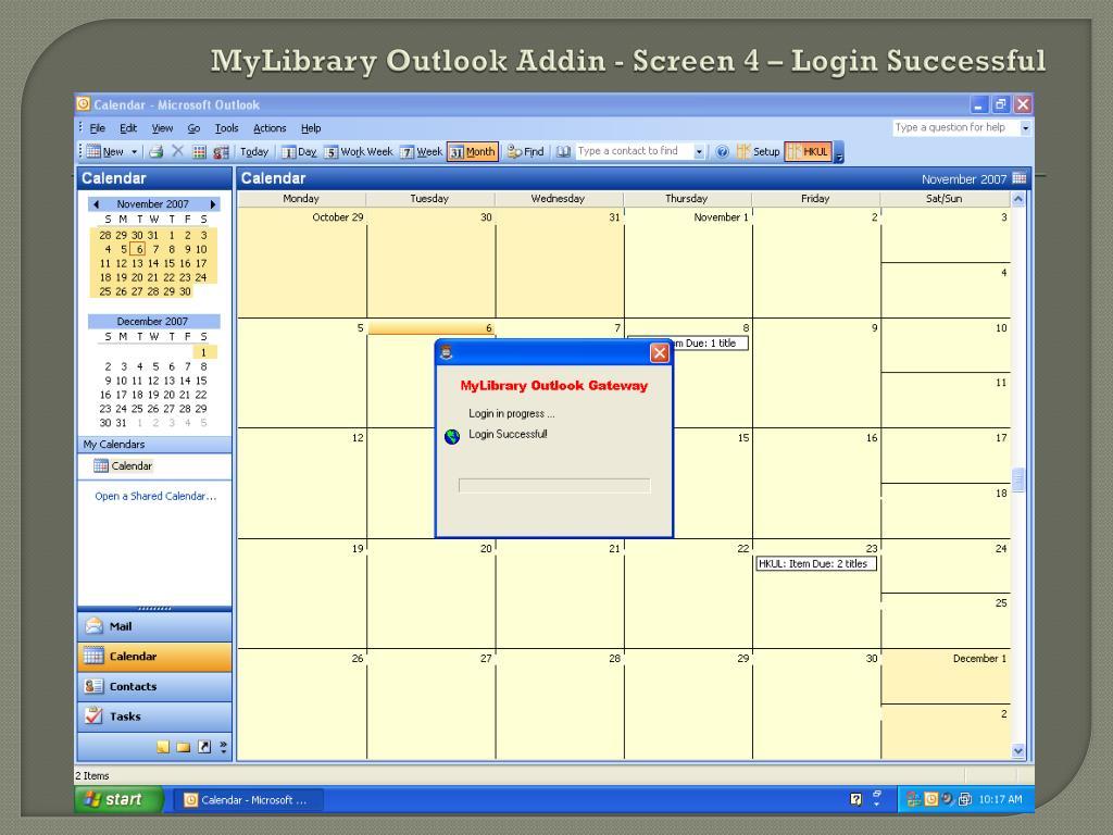 MyLibrary Outlook Addin - Screen 4 – Login Successful