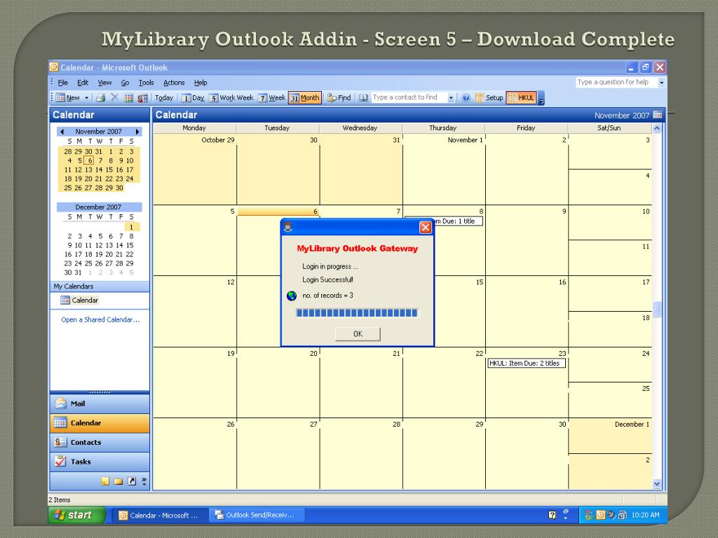 MyLibrary Outlook Addin - Screen 5 – Download Complete